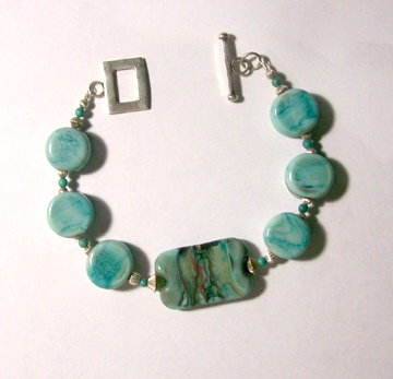 Copper green and turquoise bracelet