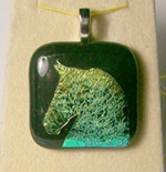 Green crinkle dichro baroque stallion head pendant