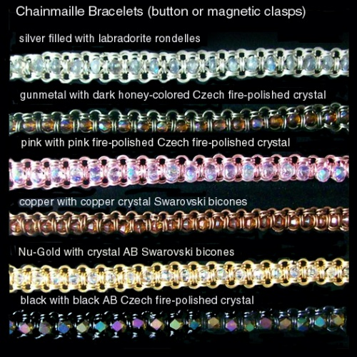 Nu-Gold chainmaille bracelet with  Crystal AB Swarovski bicones