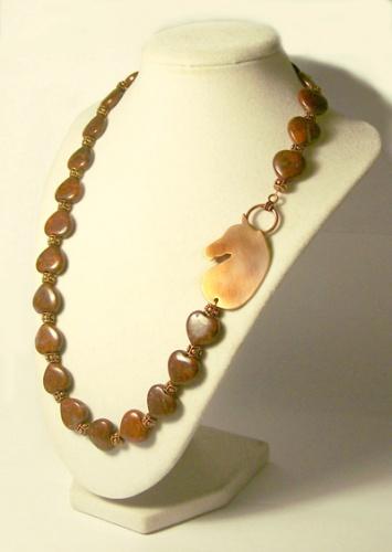 Brecciated Jasper hearts with Copper Clasp