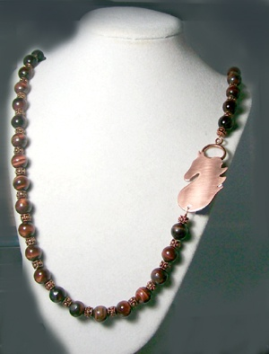 Red Tiger Eye necklace with copper clasp