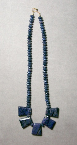 Dumortierite Keystone and Rondelle Necklace